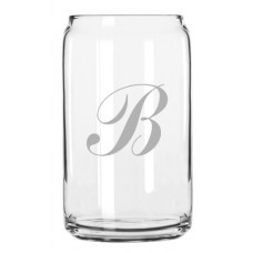 Commercial Script Monogrammed Can Glass
