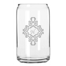 Decorated Monogrammed Can Glass