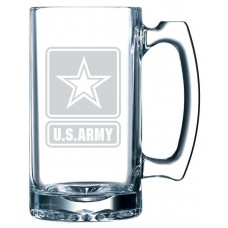 Army Military Themed Etched 25oz Libbey Sports Beer Mug