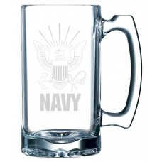 Navy Military Themed Etched 25oz Libbey Sports Beer Mug