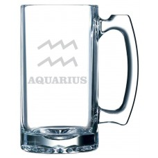 Zodiac Symbol Themed 25oz Handled Libbey Beer Mug
