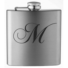 Monogrammed Chopin Script 6oz Stainless Steel Flask