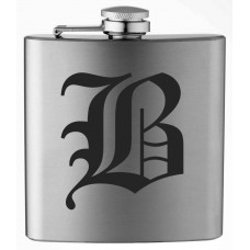 Monogrammed Old English 6oz Stainless Steel Flask