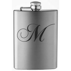 Monogrammed Chopin Script 8oz Stainless Steel Flask