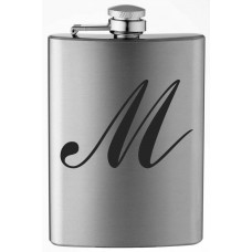 Monogrammed Commercial Script 8oz Stainless Steel Flask