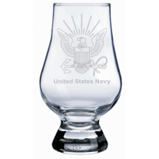 Navy Military Themed Etched Glencairn Whisky Glass