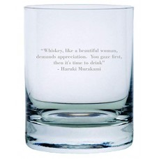 Haruki Murakami Quote Etched Crystal Rocks Whisky Glass