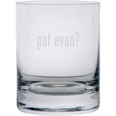 got evan? Etched 11oz Stolzle New York Crystal Rocks Glass