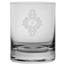 Monogrammed Decorated Stolze Crystal Rocks Glass