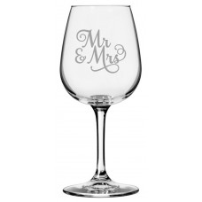 Wedding Party Samantha Font 12.75 Libbey Etched Wine Glass