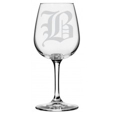 Monogrammed Old English Libbey All Purpose Wine Glass