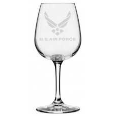 Air Force Military Themed Etched Libbey All Purpose Wine Glass