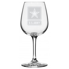 Army Military Themed Etched Libbey All Purpose Wine Glass