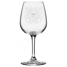 Coast Guard Military Themed Etched Libbey All Purpose Wine Glass