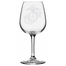Marines Military Themed Etched Libbey All Purpose Wine Glass