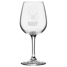 Navy Military Themed Etched Libbey All Purpose Wine Glass